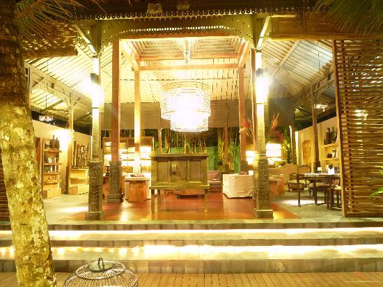 The Purist Villas and Spa: Reception area by night