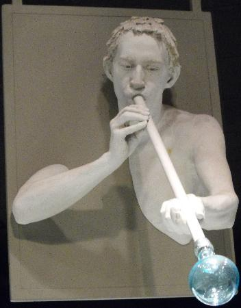 Corning, NY: Glass blower sculpture