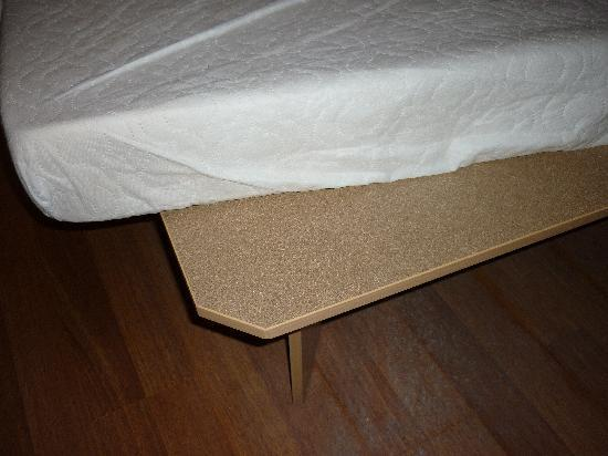 "Luton, UK: The ""bed"". Prison mattress on wooden board"