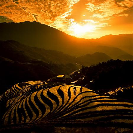 Longsheng County, : Sonnenuntergang
