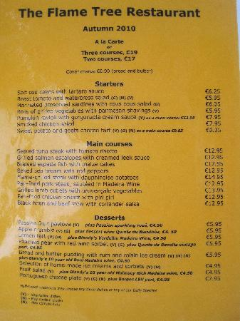 The Delicious Menu Picture Of The Flame Tree Madeira
