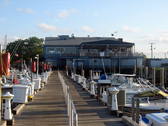 View of the on the deck restaurant from the adjacent dock for Atlantic highlands nj fishing