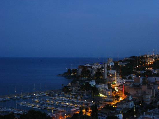 Cala Major, Spain: View from the room at night