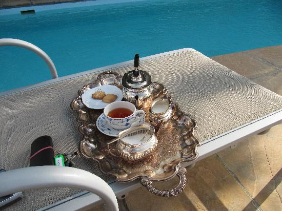 : Tea by the pool on arrival