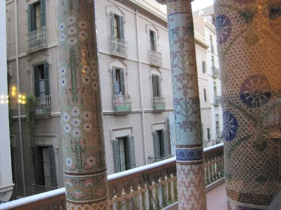 Pensio 2000: from the Palace of Music looking at our room (see laundry on balcony)