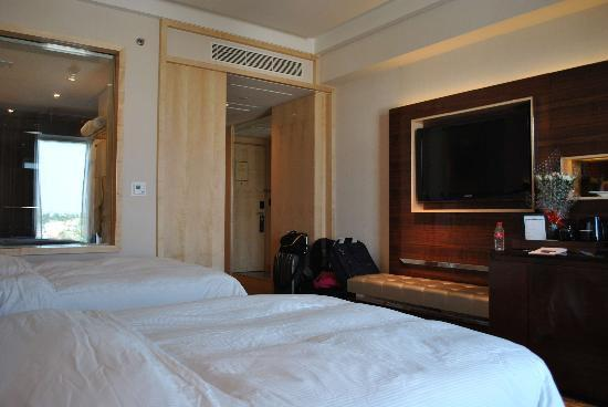 "Hilton Chennai: Double Room (beds were ""remade"" by us for this picture..hotel staff does a better job)"