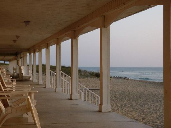 Cavalier by the Sea: The porch on the oceanfront side of the motel.