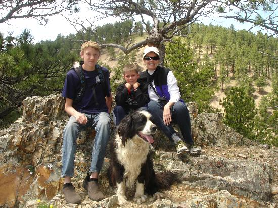 Deadwood, SD: Photo Op with Lucky the ranch dog.