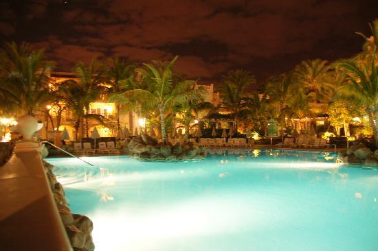 Palm Oasis: pool at night.