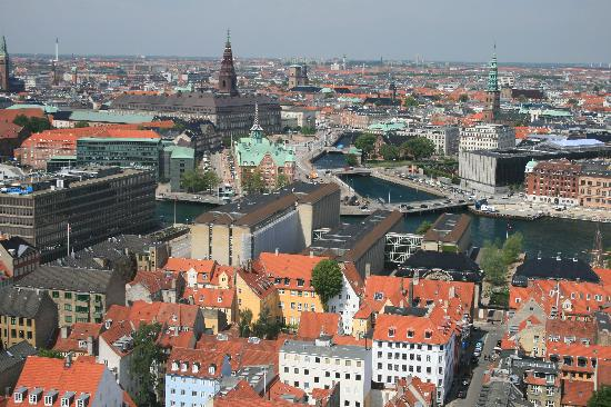 Copenhagen, Denmark: View from the top of Our Saviours Church