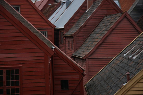 Bergen, Norway: Bryggen warehouses rooflines