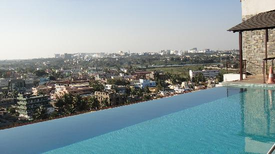 Terrace view with a clean swimming pool picture of time for Terrace restaurants in bangalore
