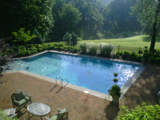 The View of The Pool Courtyard from The Cottage Guest Rooms at The Welsh Hills Inn Granville, OH