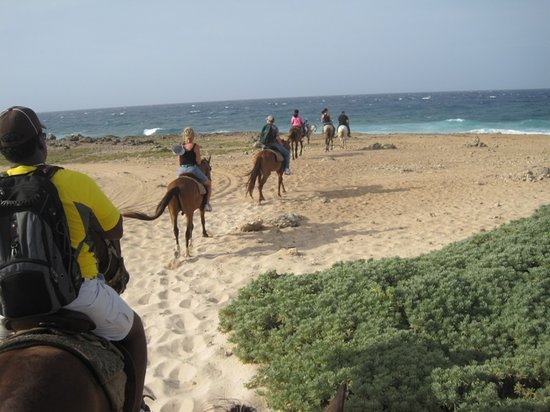 Paradera, Aruba: Trail riders arriving at Bushiribana Gold Mill