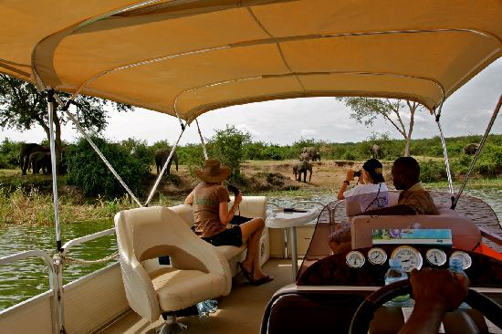 Queen Elizabeth National Park, : Water Safari at Mweya Lodge