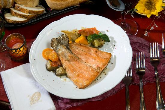 Las Bayas Hotel: Trout, one of our restaurant dishes