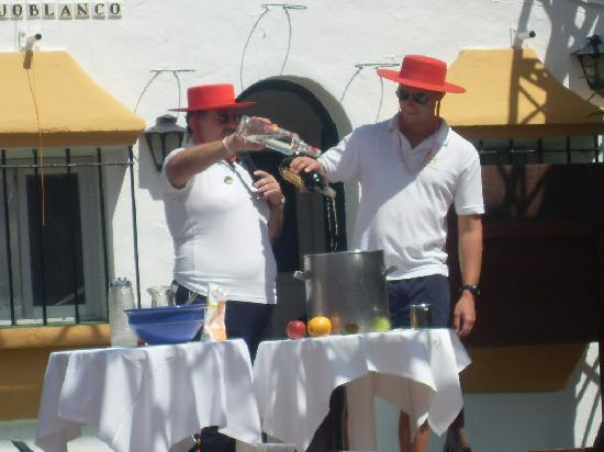 San Pedro de Alcantara, Hiszpania: Raffa & Will making great Sangria - do you join in the games - great fun!