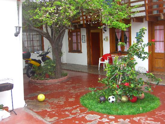 La Serena, Chile: the hostel we stayed at, seperated from the street by a large wall and door.