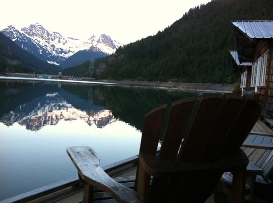 dawn from porch of a Ross Lake Resort cabin