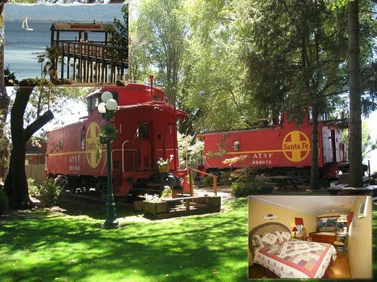 Featherbed Railroad Bed &amp; Breakfast Resort: Sleep in a caboose on Clear Lake