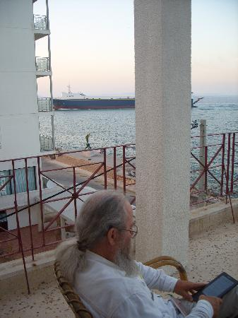 Chios Town, Greece: view from our deck, Kyma Hotel
