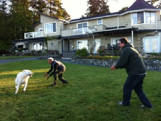 The Lodge at Weirs Beach: Playing around with the resident dog Max