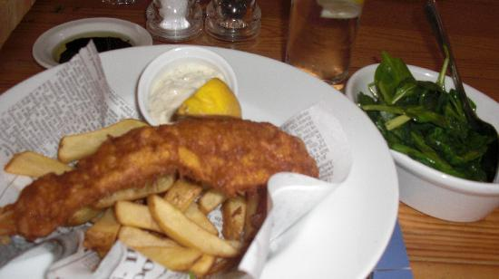 Fish and chips side of broccolini with nutmet picture of for Eds fish and chips