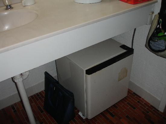 Greenmount Beach Resort Coolangatta: Bar fridge under bathroom sink