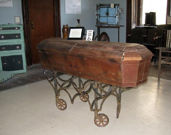 Weston, WV: Example of casket used for remains of patients with no family to claim them after death.