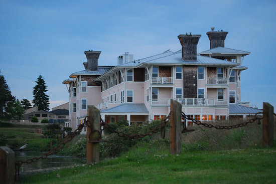 The Resort at Port Ludlow: View of the hotel from the green space