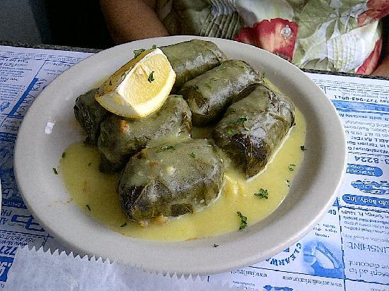 Dolmades - stuffed grape leaves - Picture of Costas ...