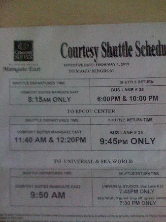 Comfort Suites Maingate East: bus times to the parks