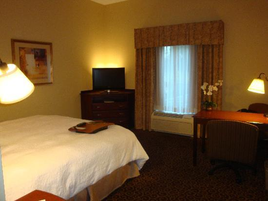 Hampton Inn & Suites Ocala - Belleview: Interesting placement of bed.