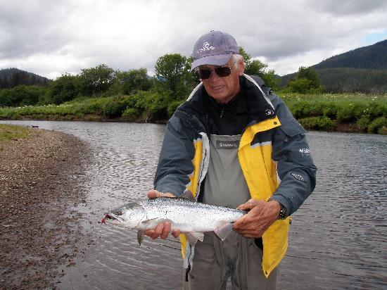 Dove Island Lodge: Salmon everywhere!