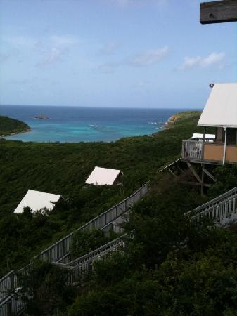 Concordia Eco-Tents: View of Salt Pond Bay (very good snorkeling) and Concordia from our balcony