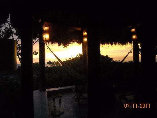 Hotel Xixim: Hammock, paddles, view from cabin @ sunset