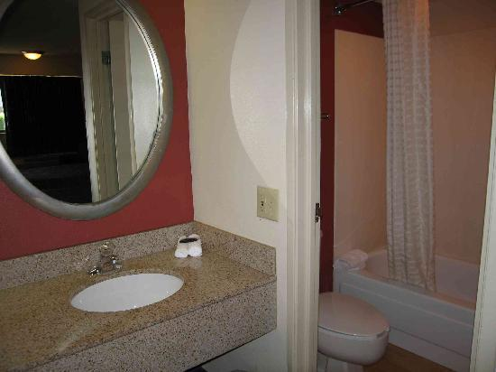 Red Roof Inn Farmington Hills: Bathroom (with the worlds most powerful shower!)