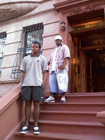 Harlem Bed and Breakfast: my nephew Darren & friend standing outside of bed and breakfast