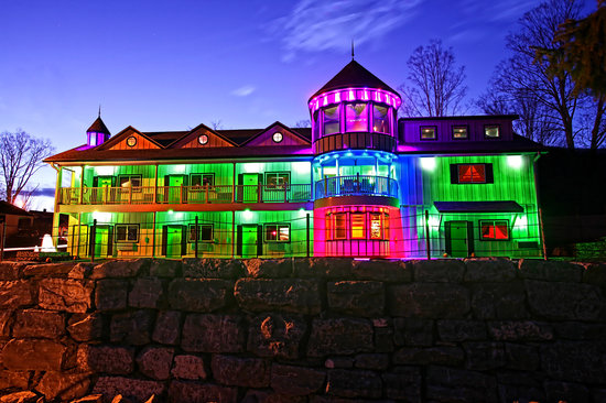 The Roxbury, Contemporary Catskill Lodging: The Roxbury Aglow at Night