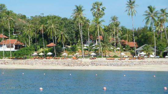 Belmond Napasai: view from the sea to the hotel (used 100Degrees East for trip)
