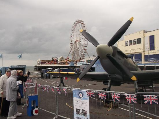 Blackpool, UK: spitfire display beside the pier
