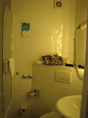 Ambassador Hotel: The extremely small bathroom with the sink impeding the toilet