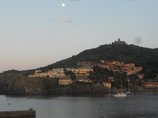 Summer evening and full moon over Collioure