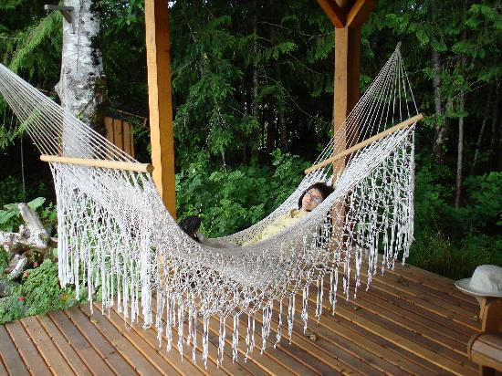 Ecoscape Cabins: Must be Krazy Glue in the hammock