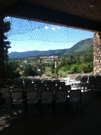 The Inn at Palmer Divide: The view out the back patio, where a wedding or ceremony can be arranged through the Inn