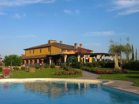 Palaia, Italy: View from pool in afternoon