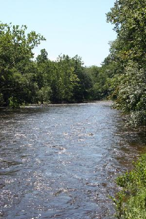 Cuddebackville, Nueva York: Neversink River (very high water level)