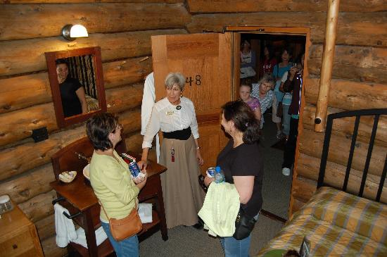 "Old Faithful Inn: We saw a room in the ""Old House"" as part of our guided tour."