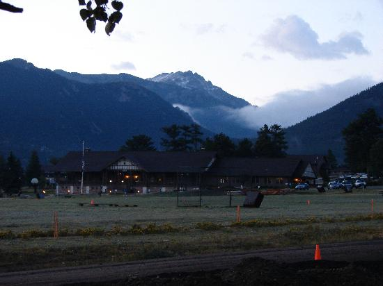 YMCA of the Rockies: View of the lodge at the Y camp at dusk.