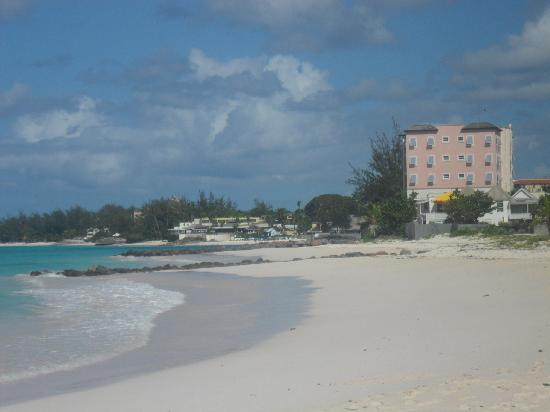 Christ Church, Barbados: Looking back towards the hotel on the beach from Oistins